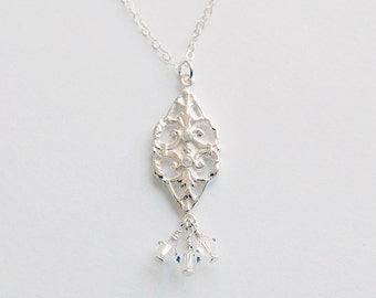 Silver Crystal Pendant Filigree with White Topaz Accents