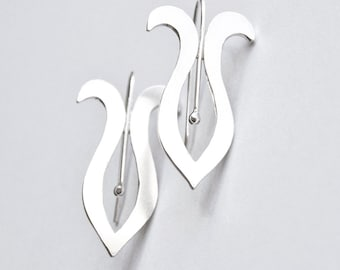 Handmade Silver Earrings Stylized Iris Style