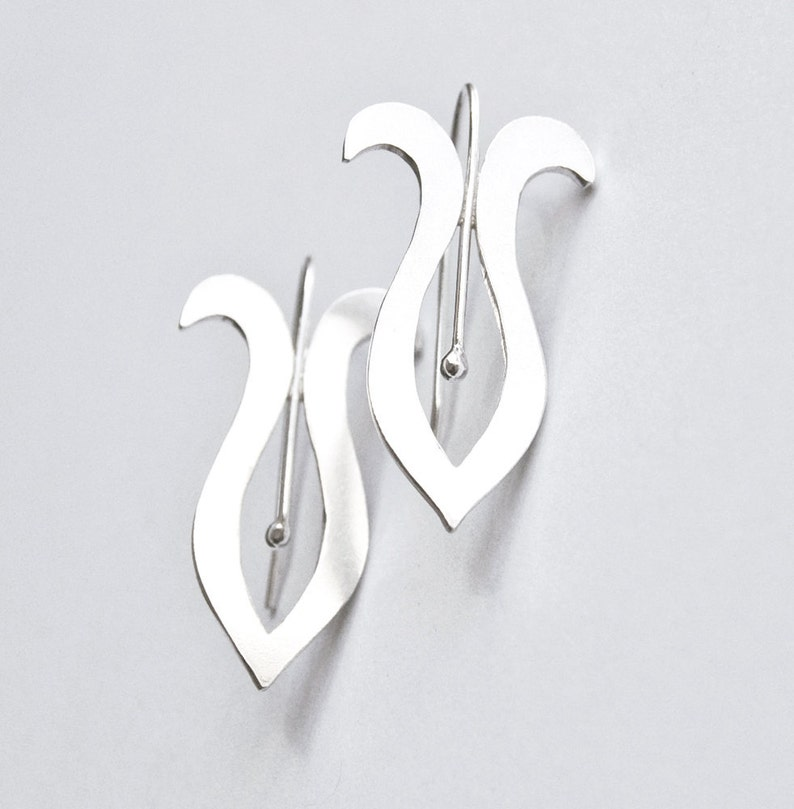 Handmade Silver Earrings Stylized Iris Style image 0