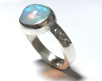 Opal and Lab Diamond Sterling Silver Ring Size 7