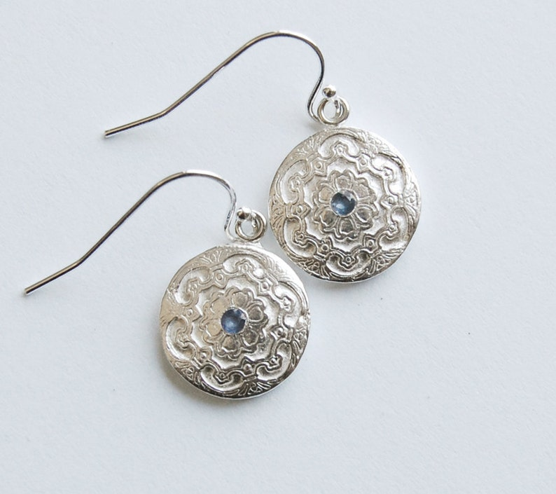 Silver Sapphire Earrings Blue Classic Style Dangle Drop image 0