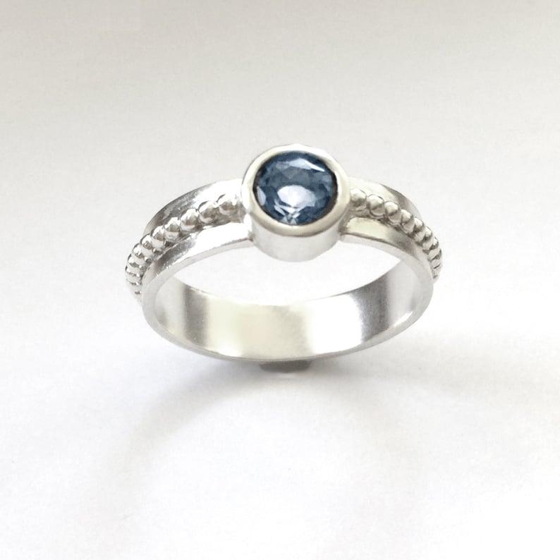 Topaz Silver Ring Tube Set Blue Topaz Size 8 1/2 image 0