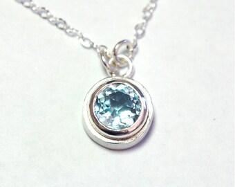 Blue Topaz Pendant in Sterling Silver Petite Bezel Set Necklace