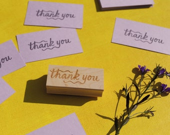 New Thank You Rubber Stamp - DIY Wedding, Maker Supplies, Client Gift Under 20, Teacher or Kids Crafts, Handcrafted by Brown Pigeon