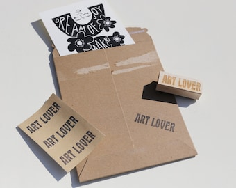 Art Lover Rubber Stamp - Maker Supplies, Shop Local, Packaging Ideas, Artist Stamps, Handle with Care / Fragile, Print Label, Gift under 20