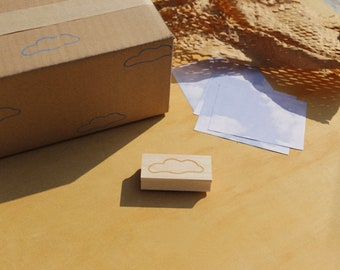 Cloud Rubber Stamp - Handcrafted - DIY Packaging, Kids Crafts, Nature Wrapping Paper, Desert Vibes
