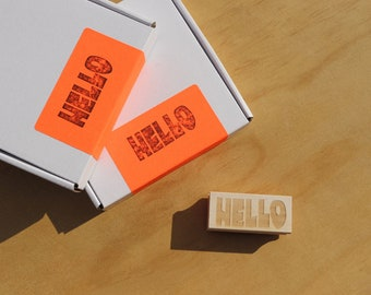 Wavy Hello Rubber Stamp - Handcrafted DIY Supplies for Makers and Small Businesses, Retro, Groovy, Handmade Cards, Tags, Gift Under 20