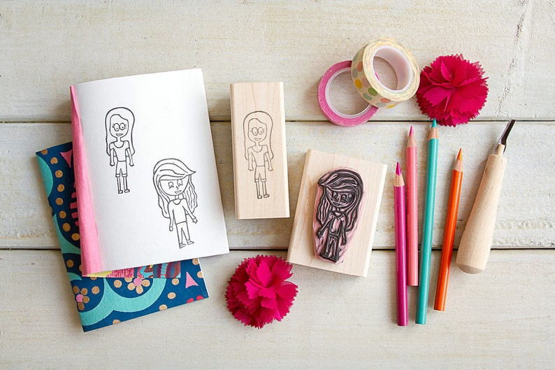 Kid's Drawing Rubber Stamp  Custom Hand-Carved 2 image 0