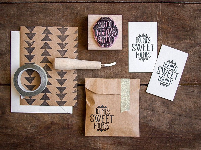 Custom Hand-Carved Rubber Stamp of Your Logo up to 2 x image 0
