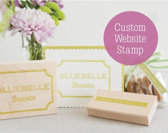 Hand Carved Website Rubber Stamp - Your Web Address URL as a Cute Banner Stamp - Great for Packaging Marketing Materials Promotions Facebook