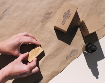 Cactus Rubber Stamp - Handcrafted - DIY Packaging, Desert Vibes, Joshua Tree, Saguaro Barrel Cacti, Supplies for Makers by Brown Pigeon