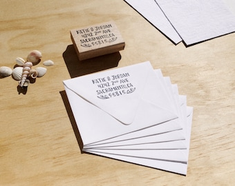 Custom HAND-LETTERED Return Address Rubber Stamp w/ Wood Handle by Brown Pigeon + Free Shipping