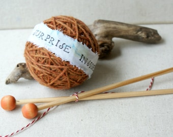 Surprise Yarn Ball- Sugar Mouse Orange and needles