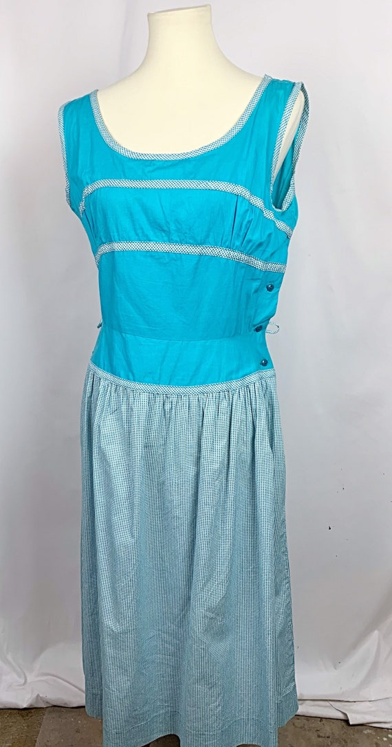Vintage 1950s Turquoise and Gingham cotton Dress