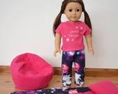 Galaxy Sleeping Bag, Bean Bag Chair, Pajamas for a 18 quot Dolls like American Girl Doll