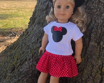 """18"""" and 15"""" Doll Minnie Outfit for American Girl Dolls"""