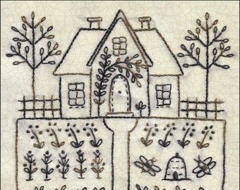 Home and Garden embroidery pattern with house, beehive and flowers pdf digital