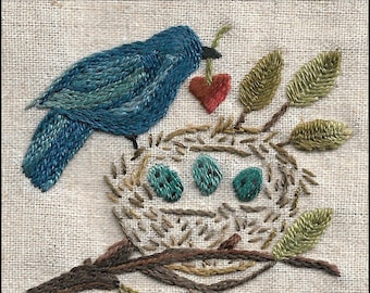 57 Patience One Stitch at a Time embroidery pattern with bird and nest