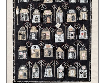 Eastmoreland neighborhood appliqué and embroider pattern with houses and trees