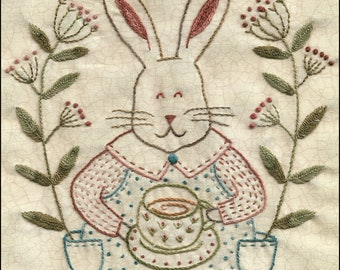 58 March Hare hand embroidery bunny pattern