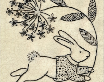 Hops! Bunny in a sweater bringing you a flower hand embroidery pattern  pdf digital