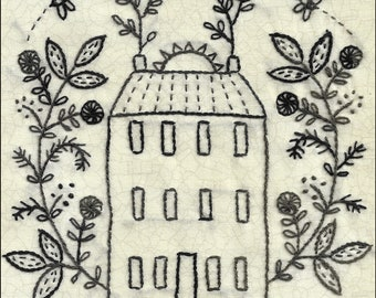 Home Grown hand embroidery pattern house and garden