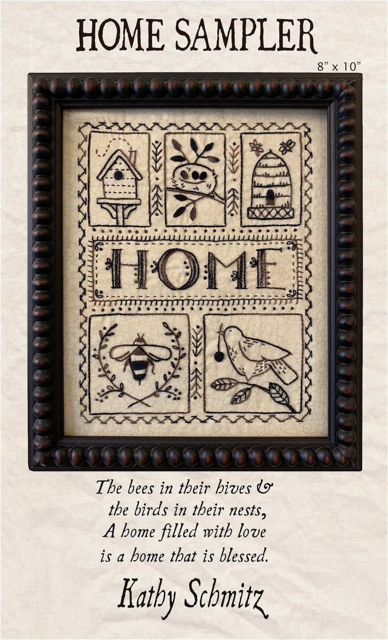 HOME Sampler embroidery sampler nest home bird bee hive image 0