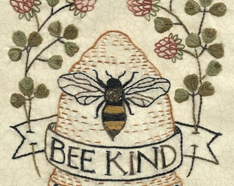 51 Bee Kind hand embroidery pattern hive with clover