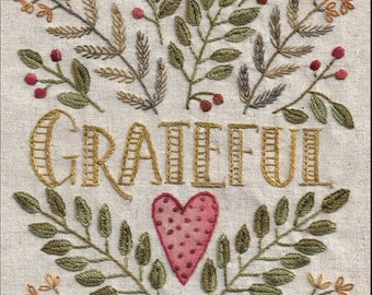 Grateful Heart embroidery pattern One Stitch at a Time club
