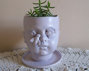 Large Lavender Ceramic Doll Head Planter with Bees