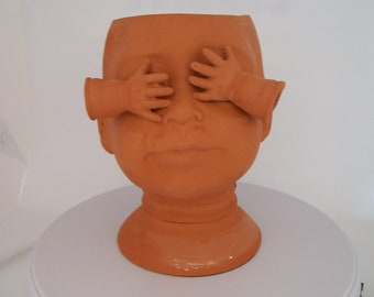 Large Terra Cotta Ceramic Doll Head Planter