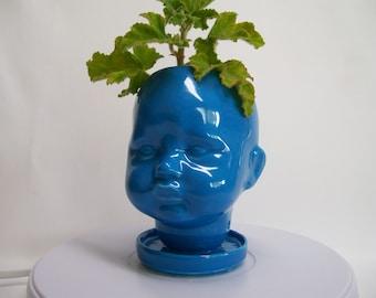 Neon Blue Ceramic Doll Head  Planter