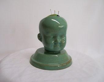 Ceramic Doll Head  Pin Cushion