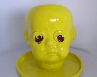 Yellow Ceramic   Doll Head Planter