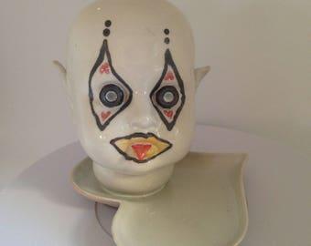 Ceramic Clown Doll Head  Planter