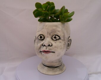 Large White Ceramic Doll Head Planter