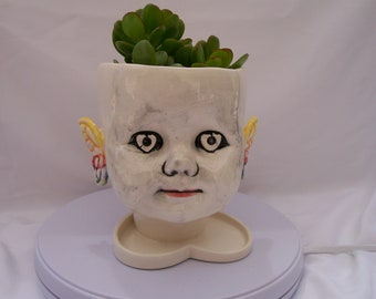 Large White Ceramic Doll Head Planter with Butterflies