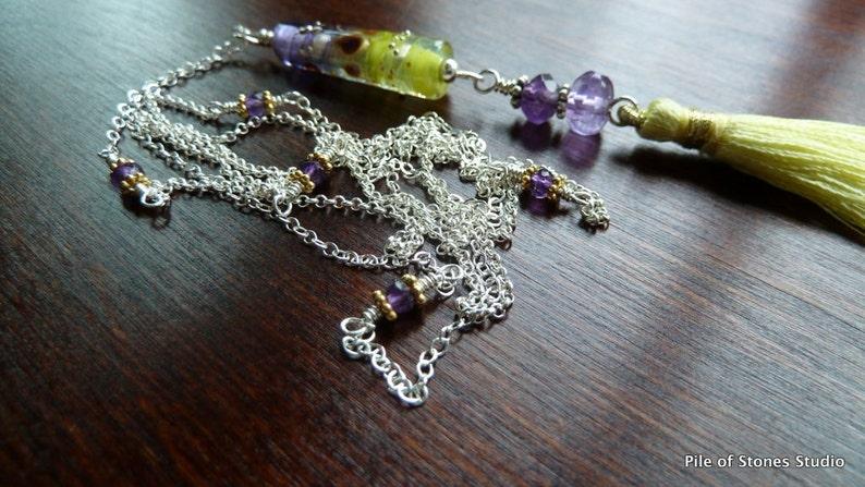 X-Long Tassel Necklace  Layering Style  Feminine Fashion  Purple and Yellow  Artisan Lampwork  Silver and Gold  *Silken Plume