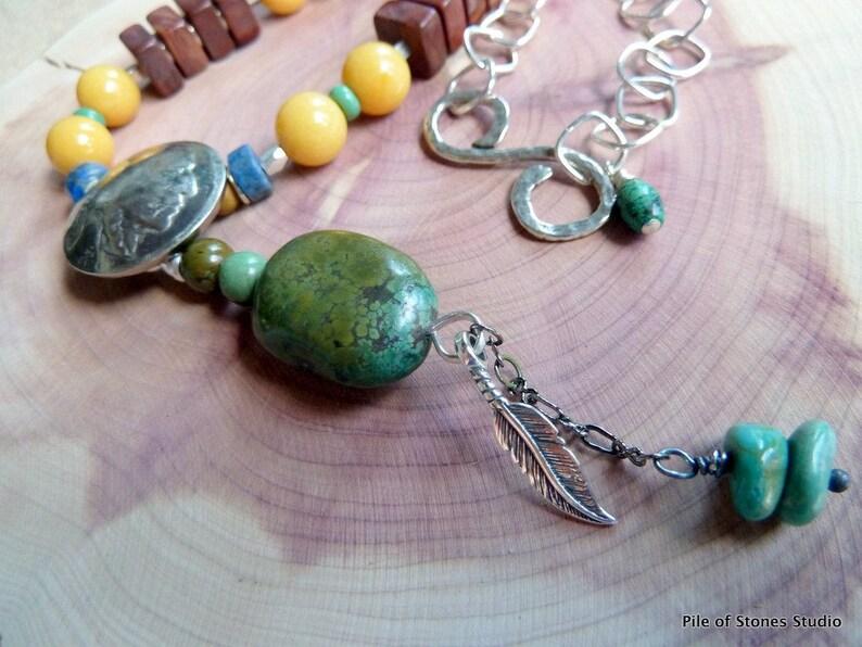 Ethnic Stone Bracelet  Organic Tribal  Earthy Color  Sterling Silver  Global Beads  Orange Brown Green  World Citizen  *Faizah