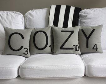 COZY Scrabble Pillows - CASES ONLY // Scrabble Tile Pillows // Letter Pillow Cushions // Pillow Cover // Giant Scrabble Tiles // Letters