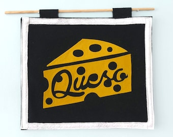 Favorite Food Felt Flag - Queso / Cheese Lover Gift / Cheese Love / Queso Gift / Food Flag / Food Wall Art / Chips and Queso / Tex Mex
