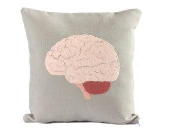 Science Diagram Pillow - Brain // Anatomy // Medicine // Organ // Neurologist // Brainy // Doctor // Genius // Smart // IQ // Intelligence