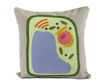 Science Diagram Pillow - Plant Cell // Scientist // Botany // Biology // Teacher // Nucleus // Photosynthesis // Green Thumb // Plant Life