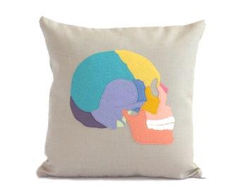 Science Diagram Pillow - Skull Pillow / Skull Decor / Anatomical Skull / Skull Pillow / Medical Student Gift / Doctor Gift / Phrenology