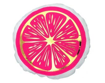 Grapefruit Pillow / Citrus Decor / Pink Pillow / Pink and Gold / Fruit Pillow / Grapefruit Slice / Ruby Red / Accent Pillow / Food Pillow