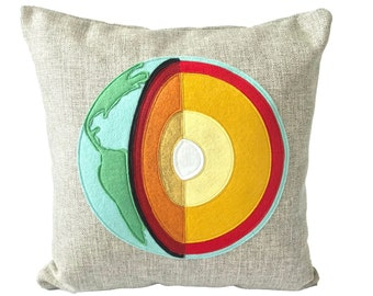 Science Pillow - Earth Cross Section / Geology / Geologist / Scientist Pillow / Layers of the Earth / Planet Pillow / Earth Science