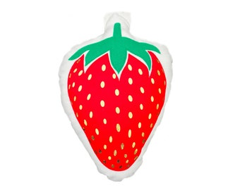 Strawberry Pillow / Strawberry Decor / Red Pillow / Red and Gold / Fruit Pillow / Fruit Decor / Pop of Red / Accent Pillow / Food Pillow