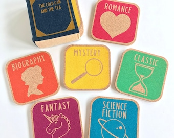Library Genre Coasters - Set of 6 / Librarian / Librarian Gift / Book Lover / Reader Gift / Book Gift / Library Coasters / Book Themed Gift