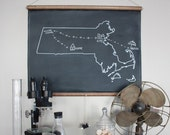 Chalkboard State Map / State Map Gift / State Outline / Moving Away Gift / Custom Map Sign / New York / New Jersey / Massachusetts