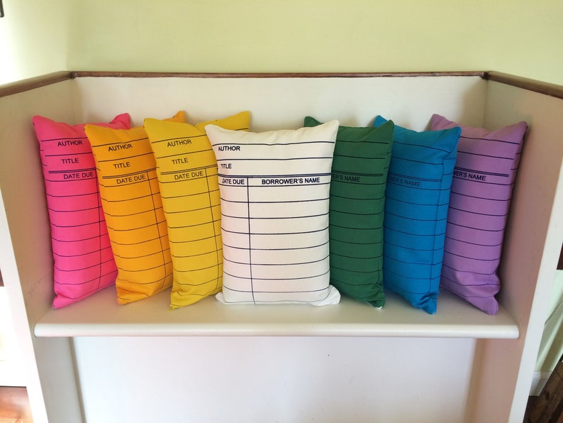 Library Card Pillows // Librarian Gift // Reading // Book image 0